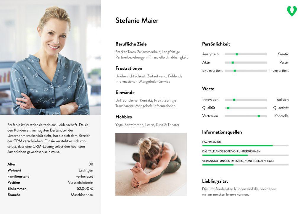 Grafisches Beispiel einer Buyer Persona. Dargestellt wird Stefanie Maier, Vertriebsleiterin bei einem Unternehmen in der Maschinenbau-Branche.