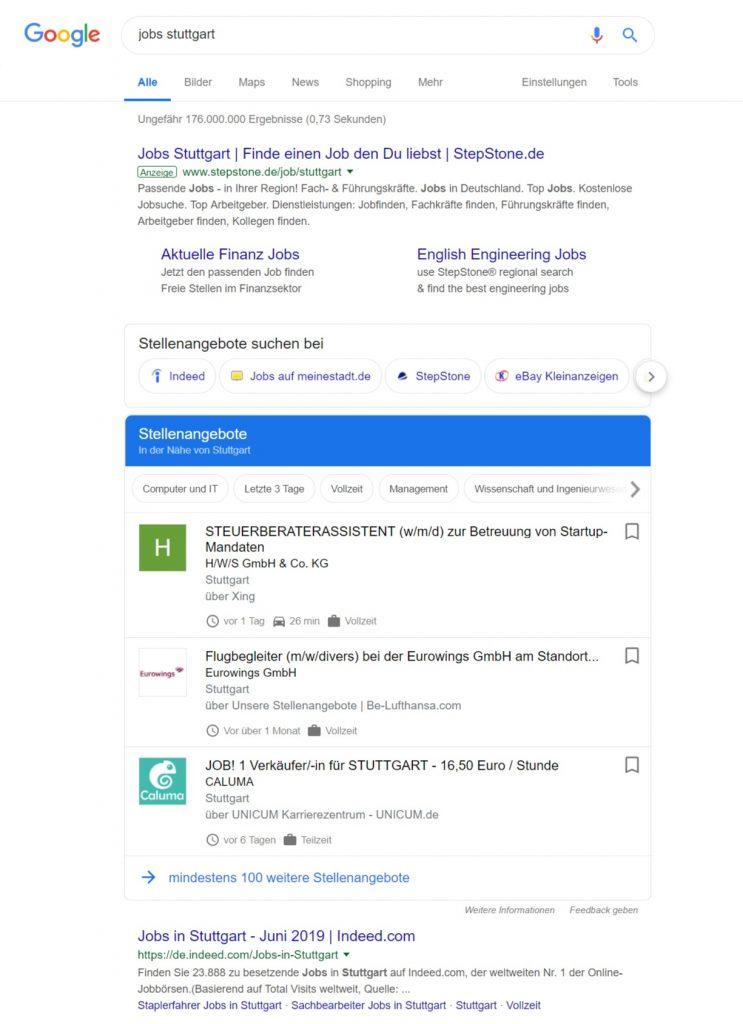 Google for Jobs auf Google Startseite