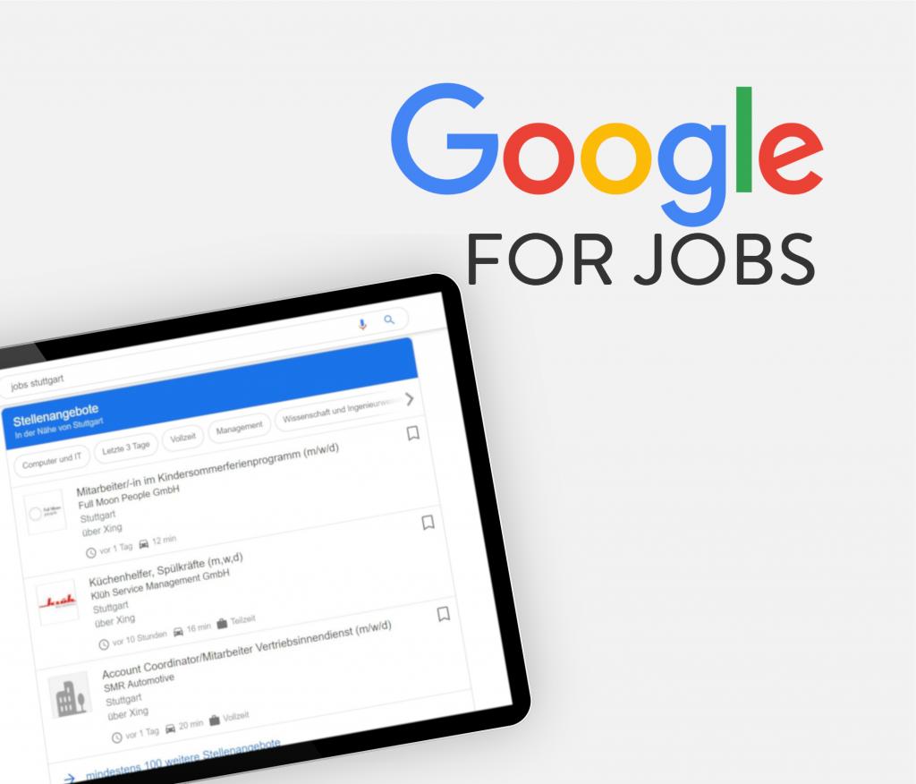 Titelbild Google for Jobs mit Screenshot in Tablet