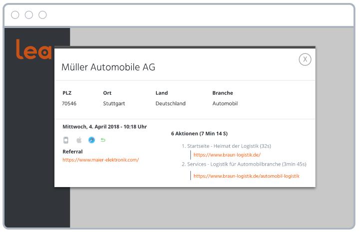 Screenshot aus B2B-Personalisierungssoftware Lea, der die Echtzeit-Ermittlung von Unternehmen, Branchen und Orten zeigt.