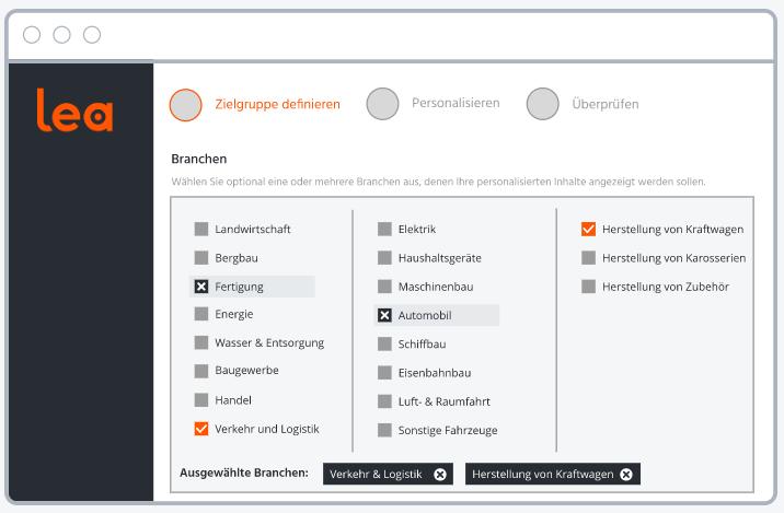Screenshot aus B2B-Personalisierungssoftware Lea, der die Zielgruppenauswahl zeigt.
