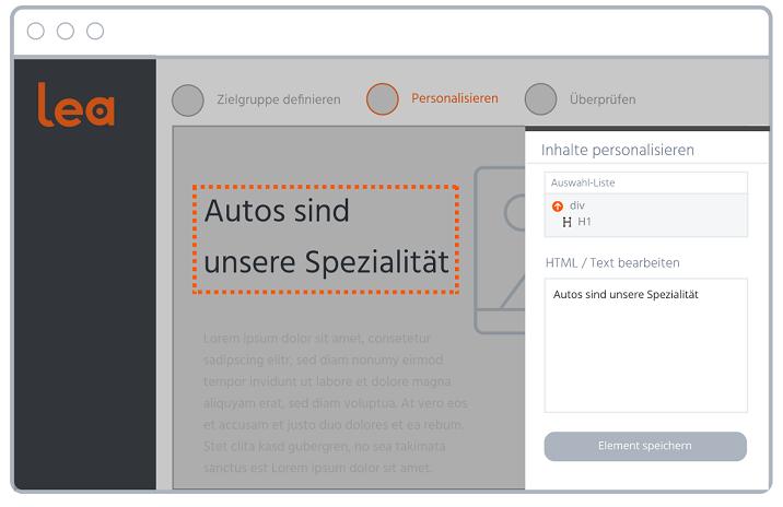 Screenshot aus B2B-Personalisierungssoftware Lea, der den visuellen Editor zeigt.