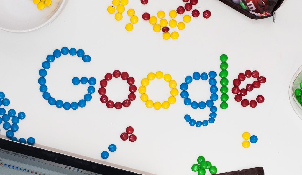 google logo with m&m's